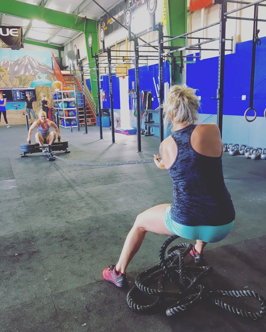 FRI-YAY! @caseyjorden16 is pulling for the weekend!  #teamwork #type44 #crossfit #reebok #sledpulls #inbend #fitness
