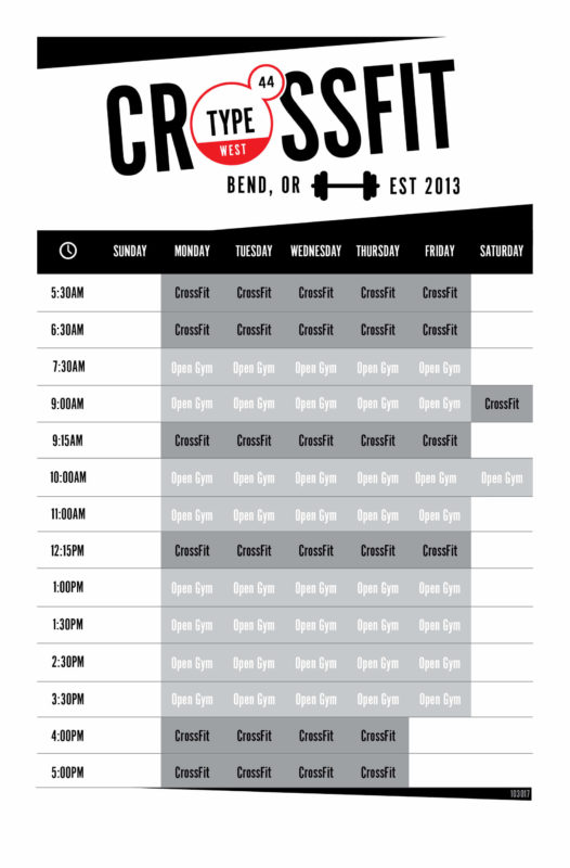 CrossFit West Bend Schedule