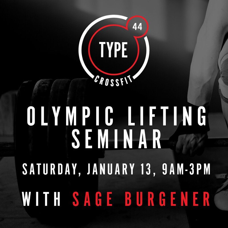 @sassysageb is coming to @crossfit_type44! . . Sage is the daughter of Mike Burgener one of the foremost authorities of the Olympic Lifts in the U.S. Sage grew up under her father and is highly sought after for training these complex movements. Spend Saturday January 13th from 9a-3p (hour lunch break) covering the Snatch, Clean & Jerk, and skill transfer exercises that help strengthen technique and positions. Followed by an open lifting time where participants are encouraged to move heavier weights! All levels welcome!