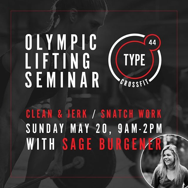 @sageburgener grew up learning the complex movements of Olympic lifting from her world-renowned father, @mikeburgener. Her knowledge and style is highly sought after, and she will be at Type 44 on Sunday, May 20 from 9 AM to 2 PM. She is covering the snatch, clean and jerk, and skill transfer exercises that help strengthen technique in all positions. Seminar to be followed by an open lifting time to practice moving heavier weights. All levels welcome!