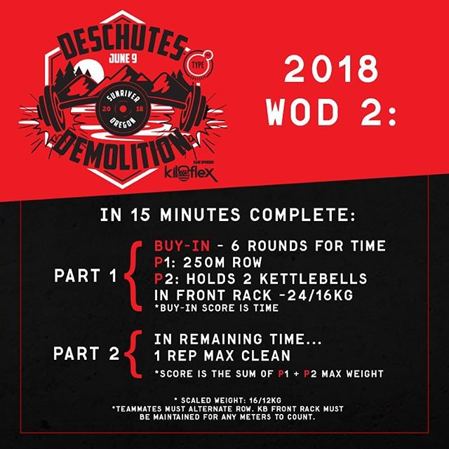 Deschutes Demolition, WOD 2! Grab a partner and get signed up! Link in bio.